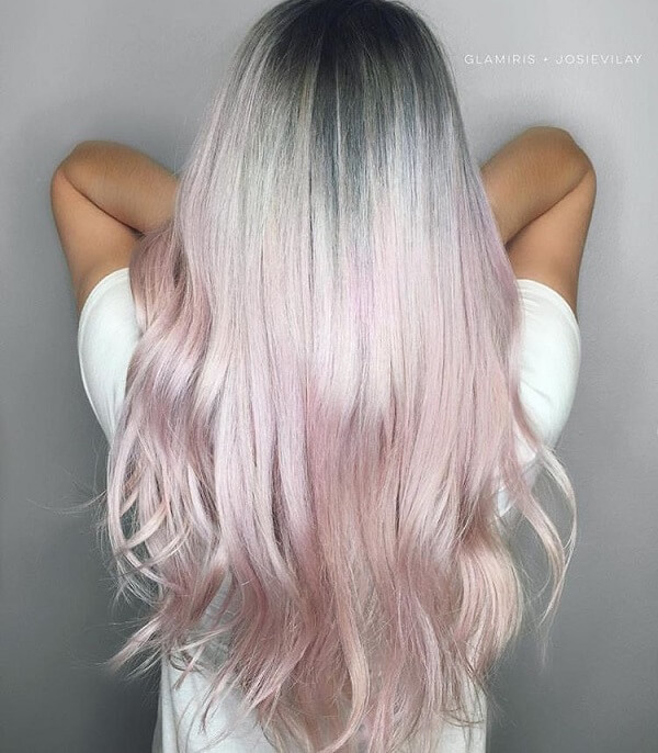 bright hair color ideas grey into pink