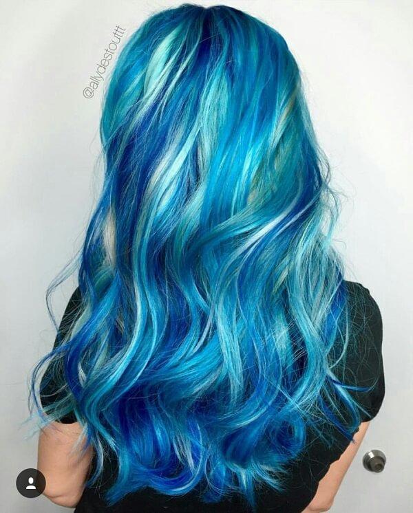 bright hair color ideas turqoise blue mermaid