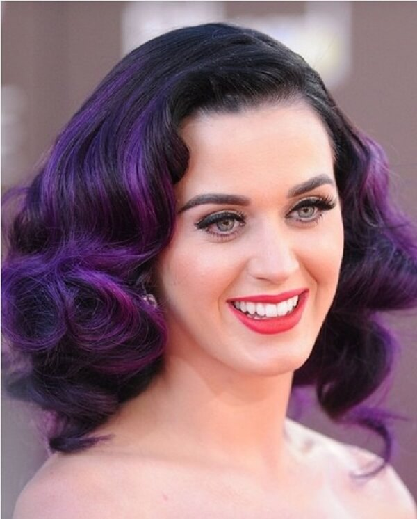 exotic purple wavy hair color