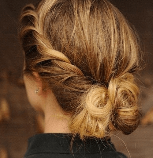 hairstyles bun for medium hair
